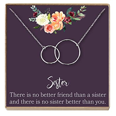 Dear Ava Sisters Gift Necklace For Sister Birthday Big There Is No Better Friend Than A 2 Interlocking Circles