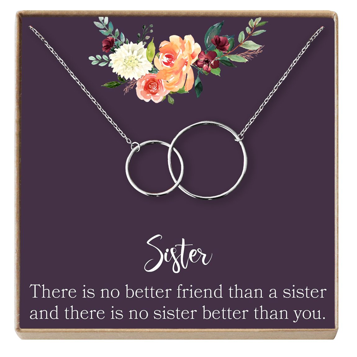 Dear Ava Sisters Gift Necklace: Gift for Sister, Sister Birthday Gift, Big Sister Gift, There Is No Better Friend Than a Sister, 2 Interlocking Circles (silver-plated-brass, NA)