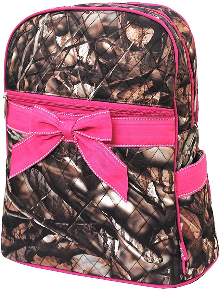 Quilted Natural Camo Backpack Hotpink