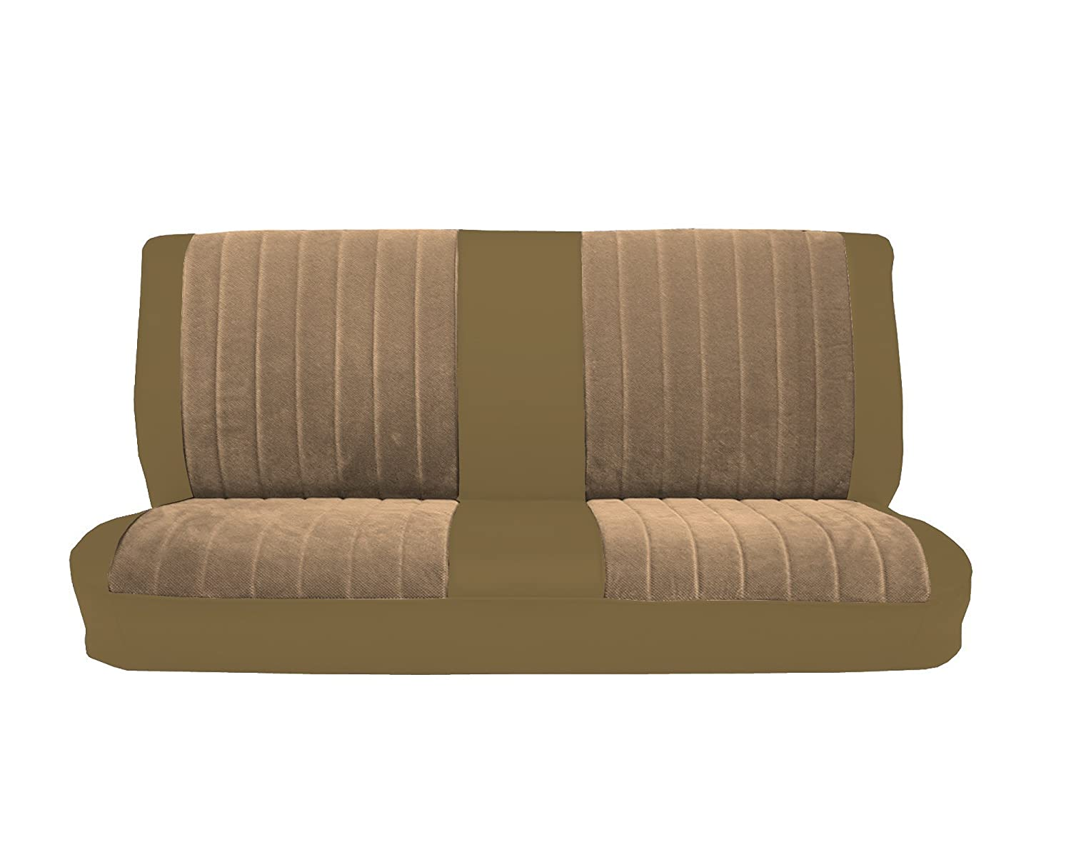 Acme U1001-014M Front Palomino Vinyl Bench Seat Upholstery with Sandstone Regal Velour Pleated Inserts