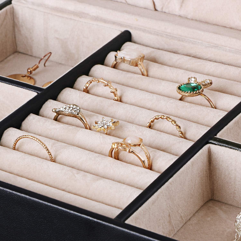 BEWISHOME 20 Section Jewelry Organizer Box with Lock ...