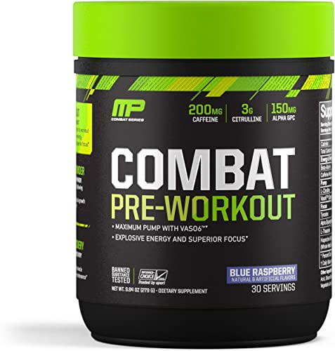 MusclePharm Combat Pre-Workout, 200 mg of Caffeine, Explosive Energy Powder, 400 mg of Tyrosine, 150 mg of Alpha GPC, Banned-Substance Tested, Blue Raspberry, 30 Servings, 9.84 oz