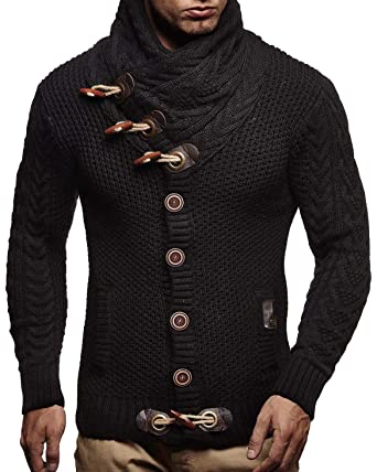 bd52d893a0871 LEIF NELSON LN4195 Men s Irresistible Knitted Turtleneck Cardigan Black S