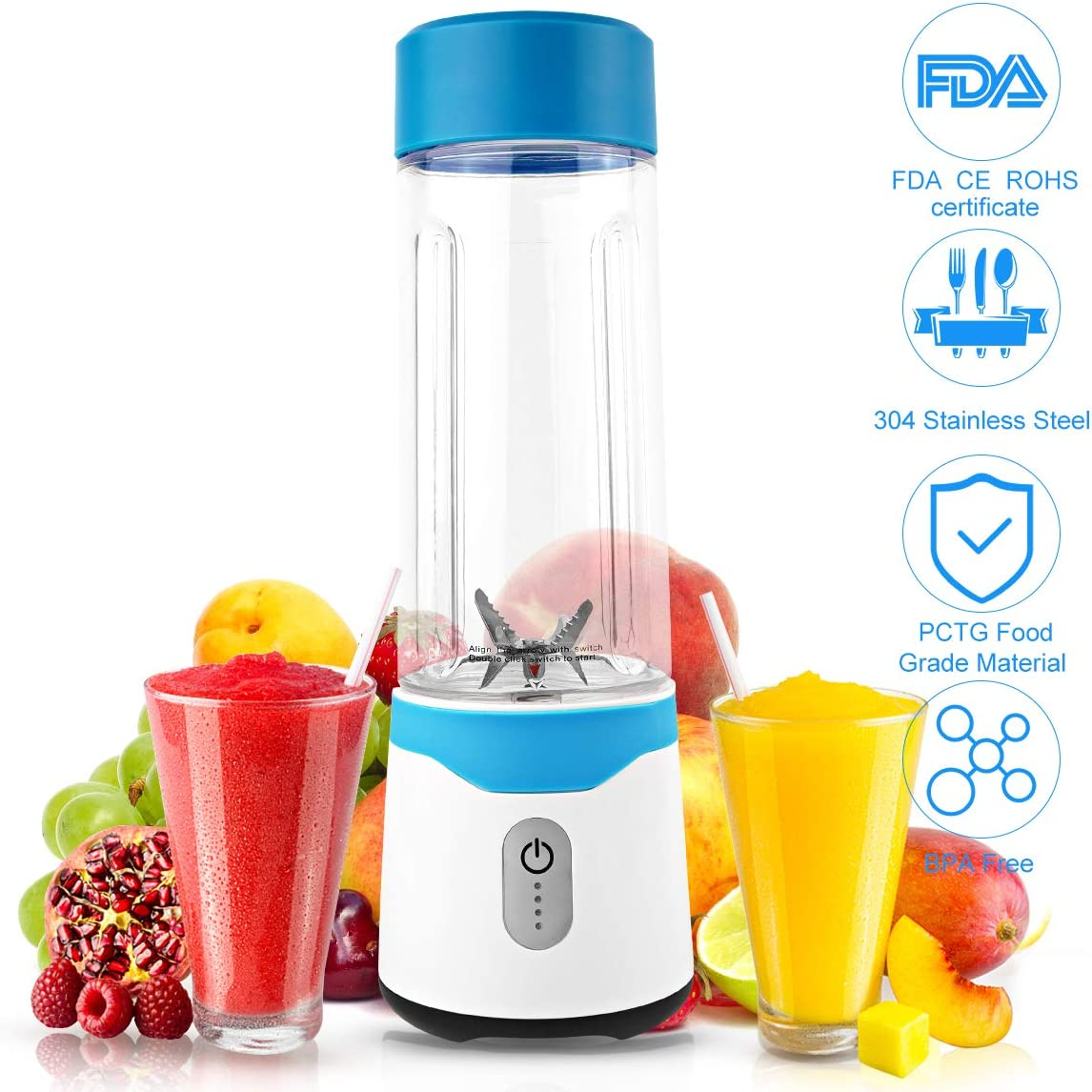 Portable Blender, Portable Blender for Kitchen Shake and Smoothies USB Rechargeable Juicer and Blender in one, with 6 Blades 22000RPM Engine Power BPA-Free by ICARE(Blue)