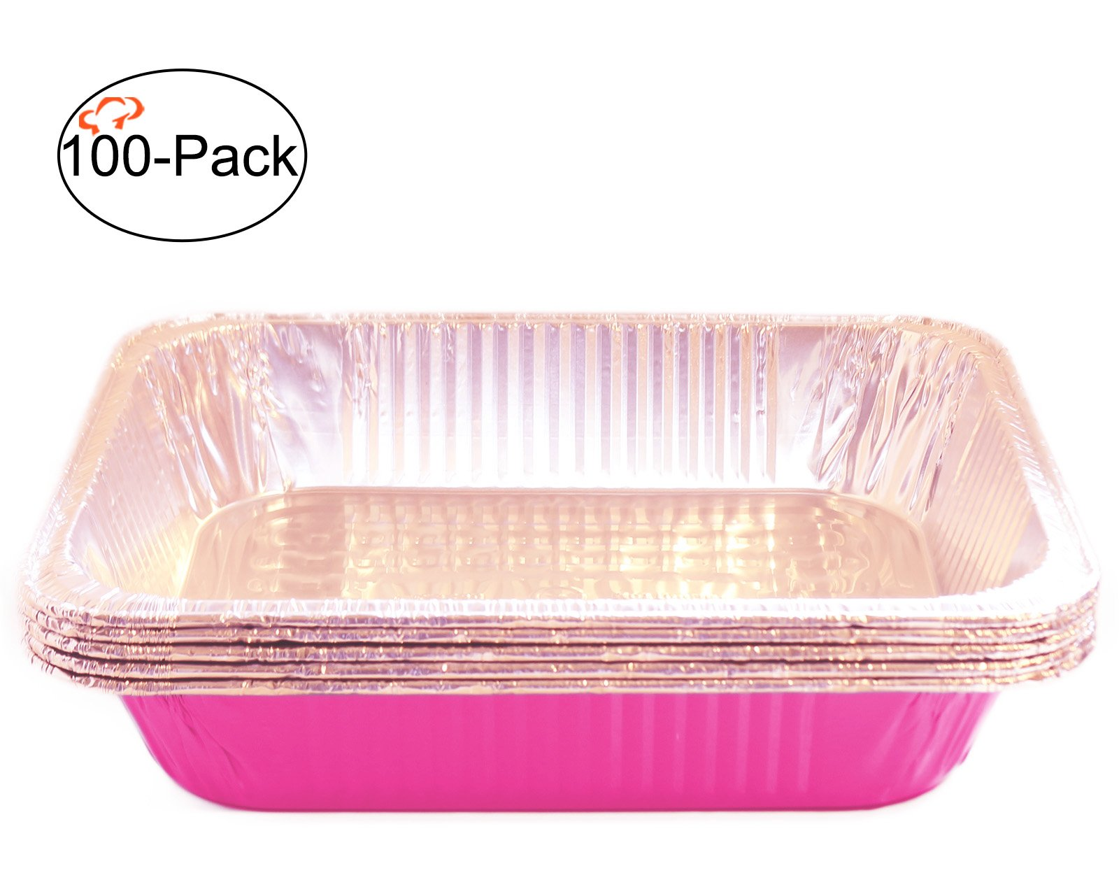 Tiger Chef Chafing Pans 100-Pack Pink Disposable Aluminum Foil Steam Table Deep Baking Pans, Half Size - 12.75in x 10.38in x 2.5in