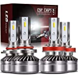 TURBO SII 9005/HB3 High Beam H11/H8/H9 Low Beam Led Headlight bulbs Combo Conversion Kits DOT Approved D6 Series CSP…