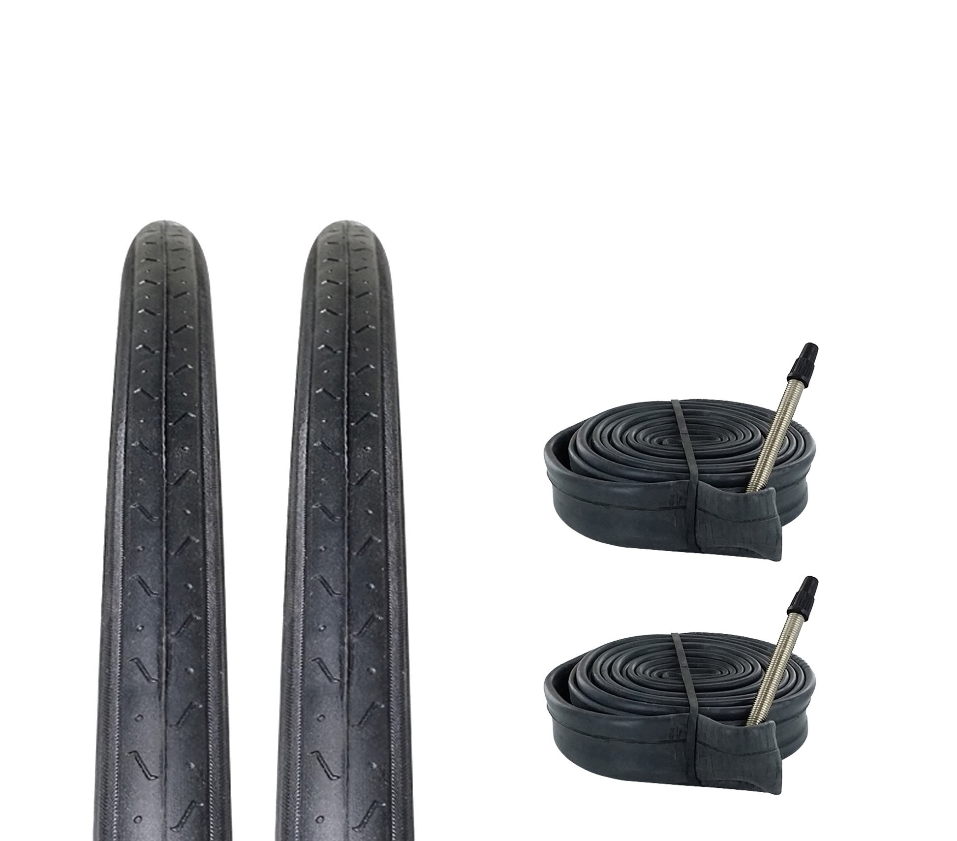 Zol Bundle 2 Pack Z1179 Road Tires and Tube 700x23C, Presta/French 60 MM Valve by Zol