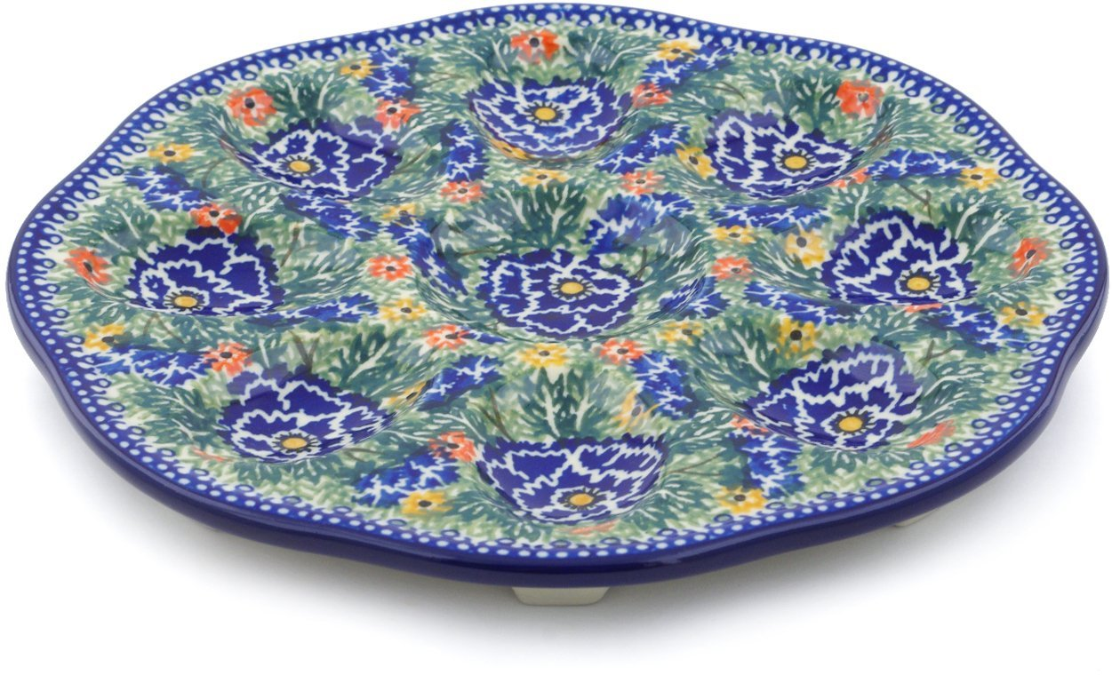 Polish Pottery 9¼-inch Egg Plate made by Ceramika Artystyczna (Dancing Pansies Theme) Signature UNIKAT + Certificate of Authenticity