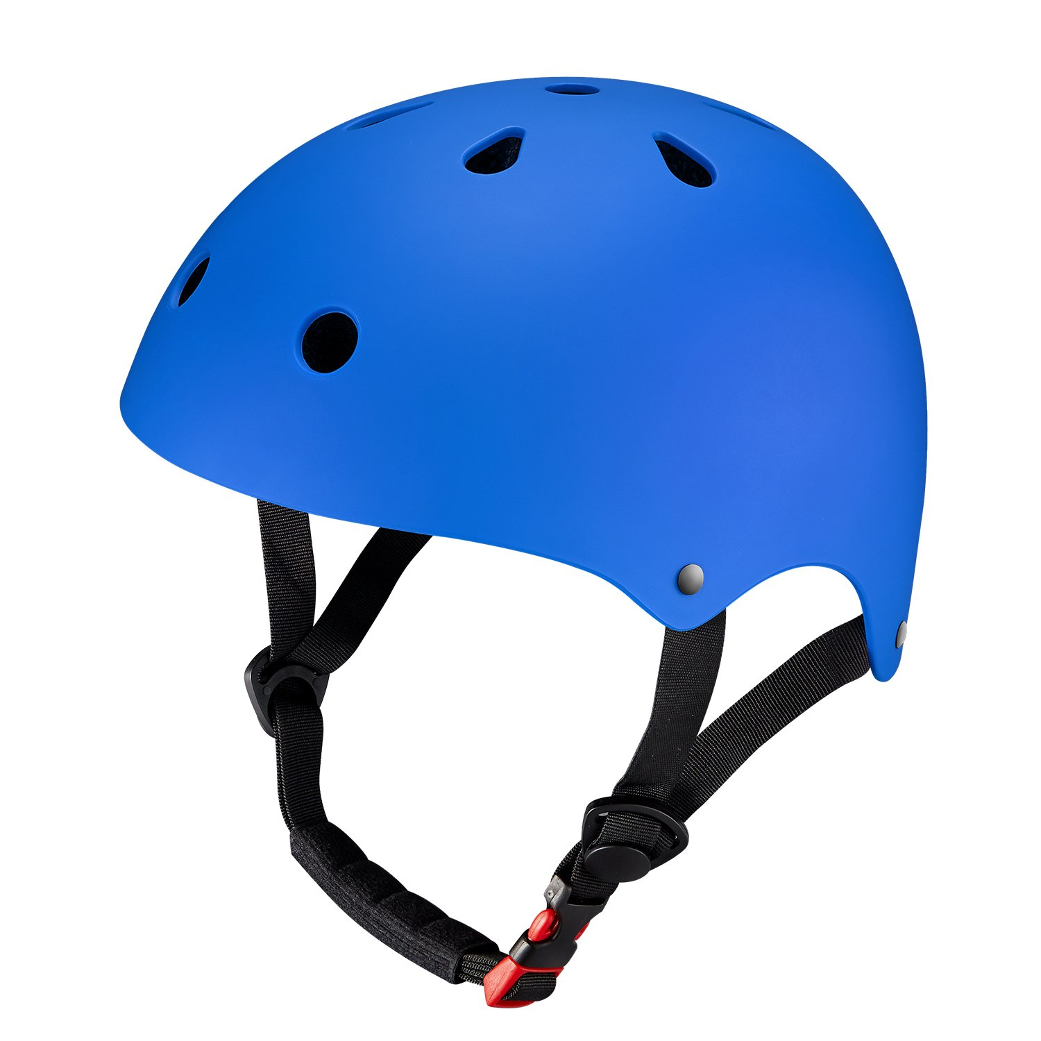 KuYou Youth Skateboarding Helmet,Ultimate Adjustable ABS Shell for Cycling /Skateboard/Scooter/ Skate Inline Skating /Rollerblading Protective Gear Suitable Men /Women.(M Blue)
