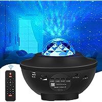 WiFi LED Stjärnljusprojektor Alexa, LED-Projektor med Stjärnhimmel Havsvåg Nattlampor med Bluetooth Musikhögtalare…