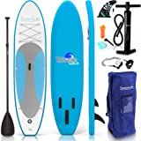 SereneLife Inflatable Stand Up Paddle Board (6 Inches Thick) with Premium SUP Accessories & Carry Bag | Wide Stance, Bottom F