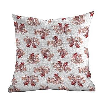Amazon.com: Funda de cojín de Koi con diseño de flor de ...