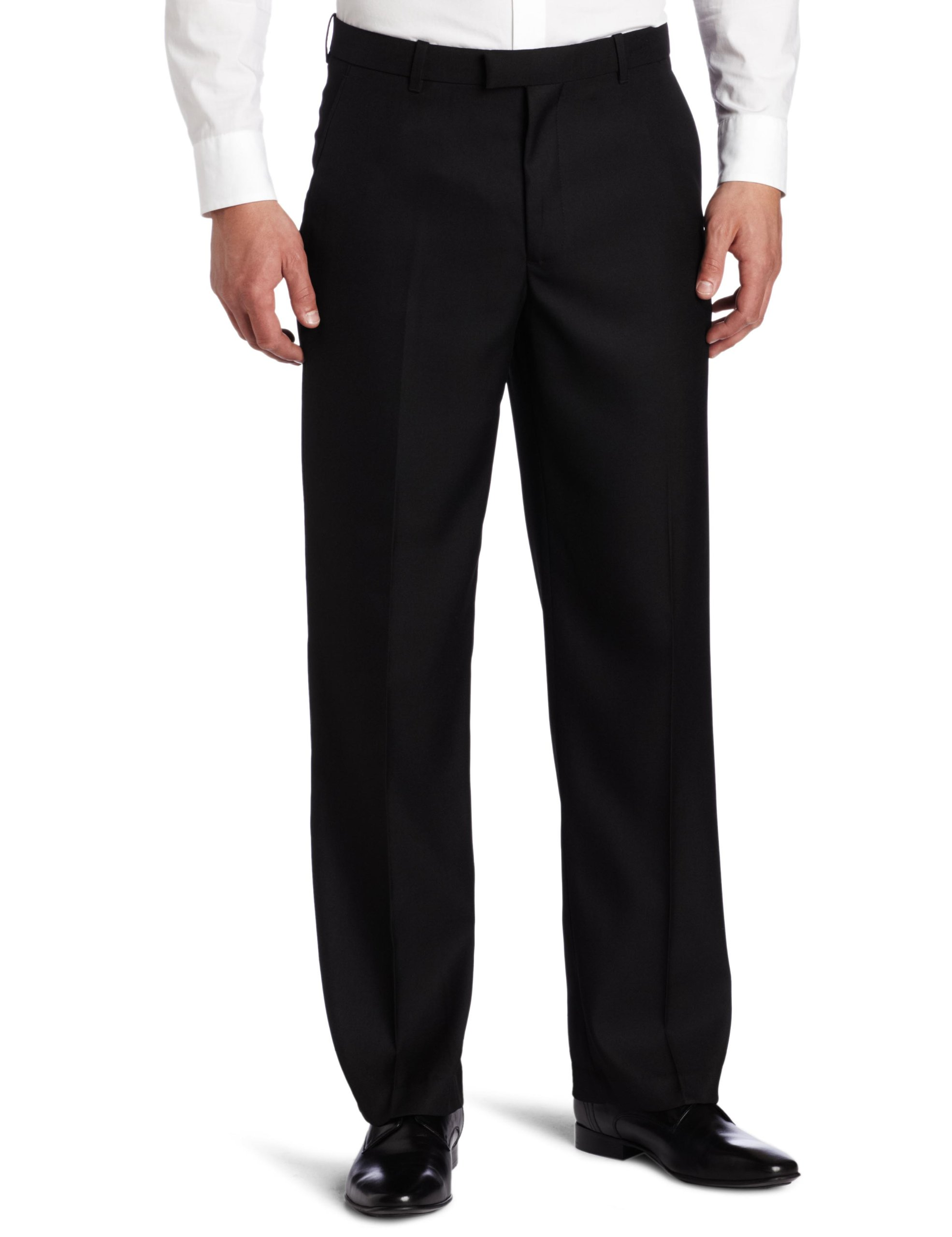 Perry Ellis Men's Portfolio Classic Fit Flat Front Folio Flex Waistband Sharkskin Pant, Black Ice, 42x32