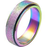 Bestomrogh Band Spins Ringen, 6 Kleuren Mode Roestvrij Staal Spinner Sandblast Finish Ring Maat 6 tot 13 voor Mens…