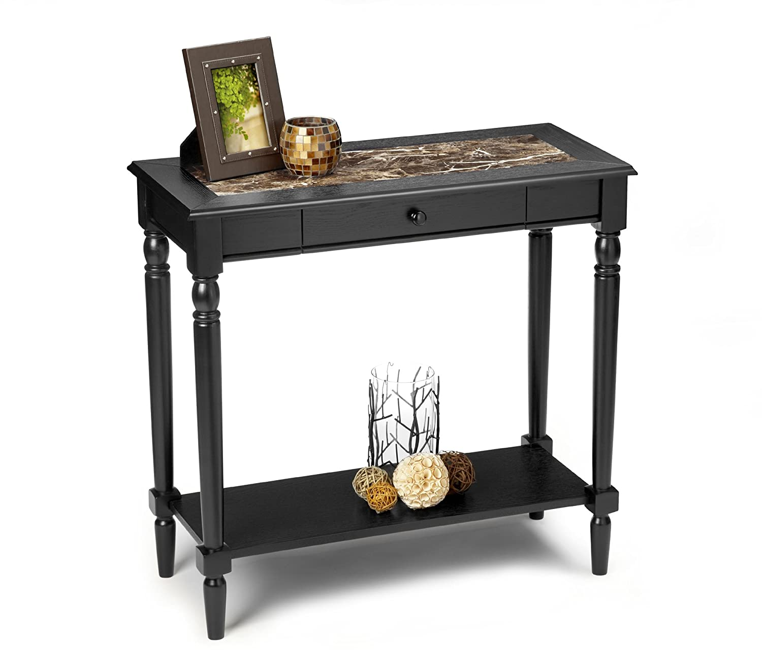 Nice Amazon.com: Convenience Concepts French Country Faux Marble Hall Table With  Shelf: Kitchen U0026 Dining