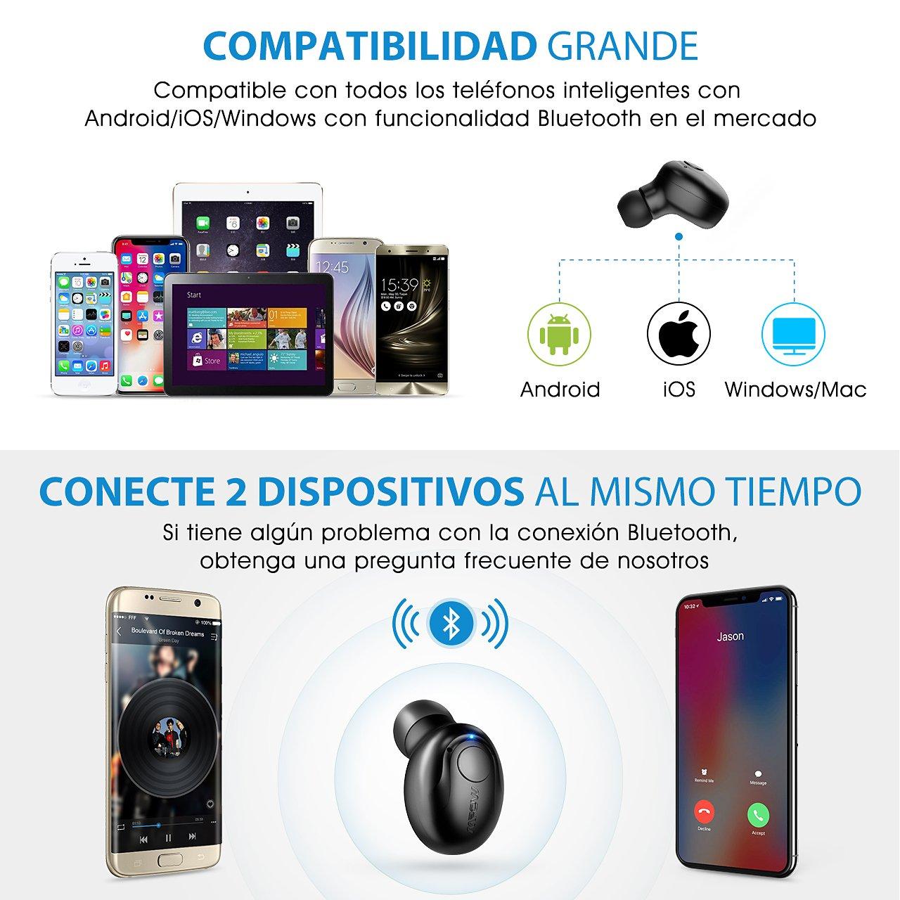 Negro Samsung Huawei Auriculares Inalambricos Bluetooth 【 Dos USB Magn/éticos Cargadores,Auriculares Bluetooth Invisibles con Microfono Incorporado para iPhone Mpow Mini Auricular Bluetooth V4.1