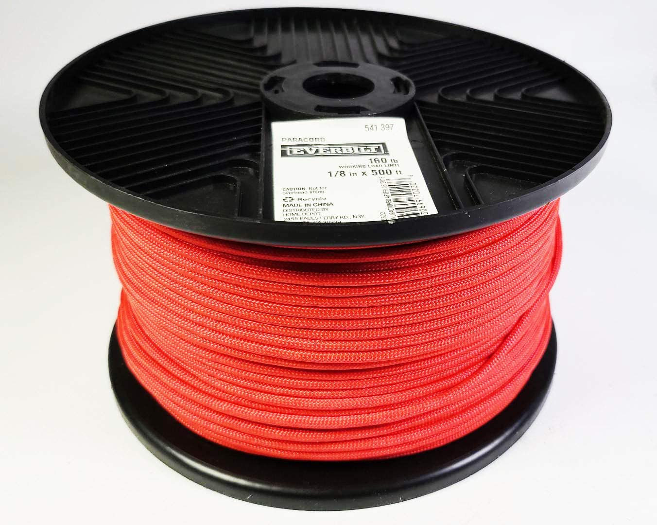 Red Roll Everbilt Paracord 160 Lb Working Limit 1//8x 500 Ft