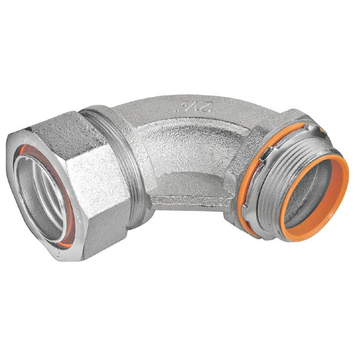 2 Pcs, 2 In. Malleable Iron Liquid Tight 90 Degree Connector w/Insulated Throat for Excellent Corrosion Protection In Damp Locations