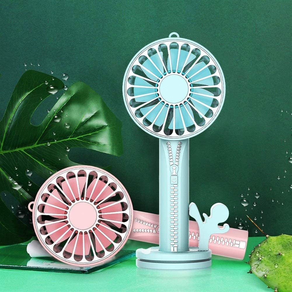 XIAOF-FEN Zipper Design USB Fan Portable Handheld Small Fan 7 Leaf Desktop Fan Makeup Mirror Phone Holder USB Fan Color : Pink