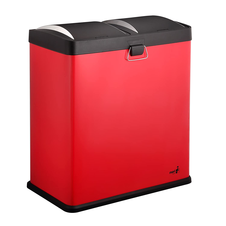 Mari Home Rojo 60L Cubo de Basura de Acero Basurero Reciclaje Dos compartimientos con Penal 2 Penal, 2x30L