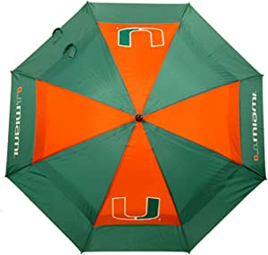 "Team Golf NCAA 62"" Golf Umbrella with Protective Sheath, Double Canopy Wind Protection Design, Auto Open Button"