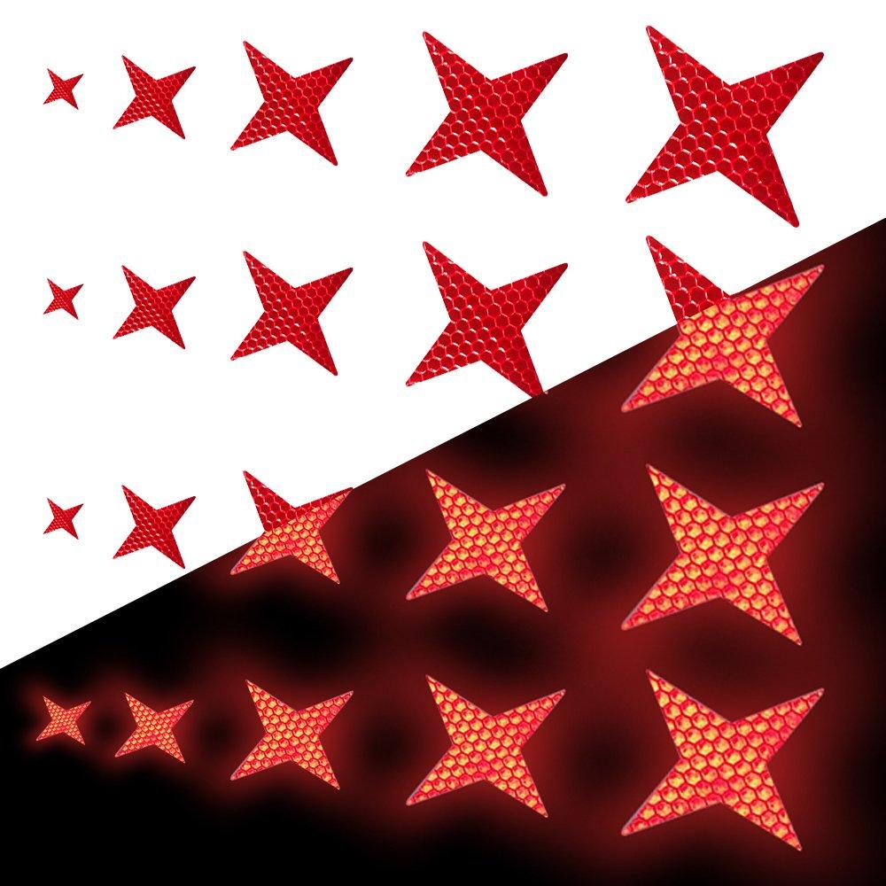 Tuqiang Forme d'étoile à Quatre Branches Bande Reflechissante Adhesive pour Casque de Moto Buggy et Poussettes Haute visibilité Ruban Sécurité extérieure Autocollant Réfléchissant 25 Pièces Bla
