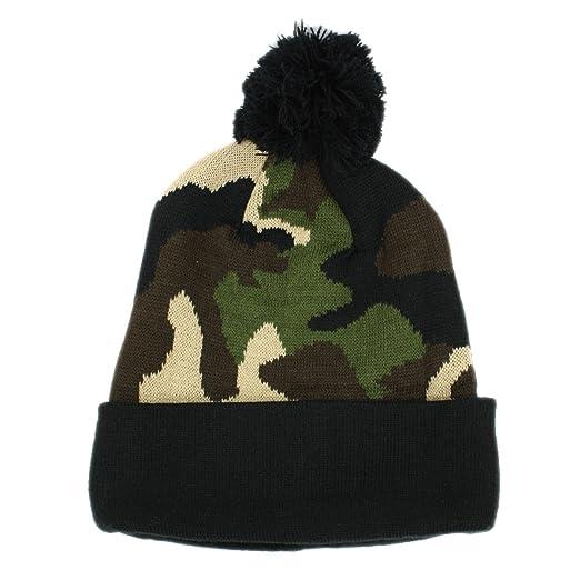 b709cd2f4ce Camouflage Cuff Pull-On Pom Beanie Knit Hat (CAMO BLACK) at Amazon ...
