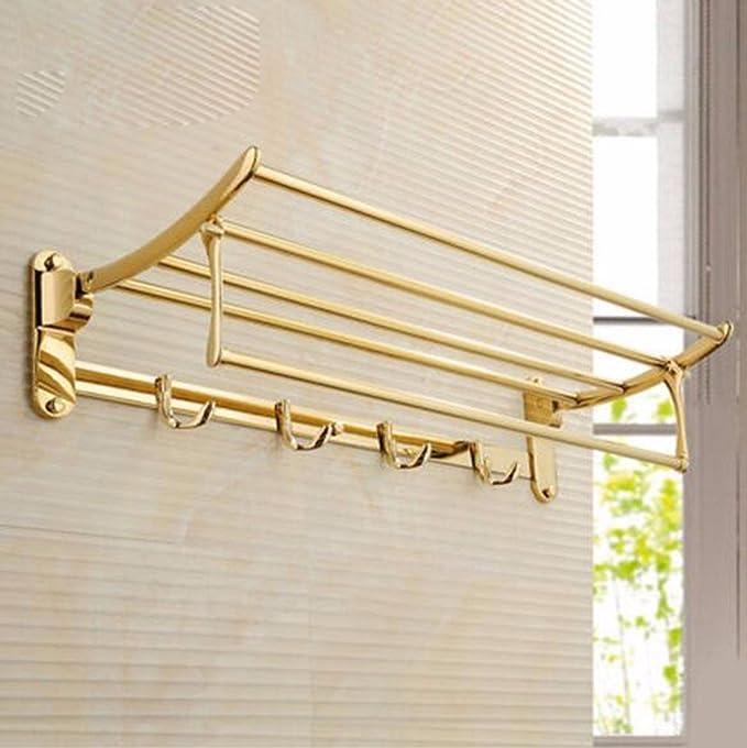 Sursy Acero inoxidable de toallas, toallas de baño plegable de antigüedades, baño, cuarto de baño colgador de hardware toallero,B: Amazon.es: Hogar