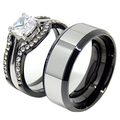 ef747174c1 Amazon.com: Lanyjewelry His & Hers Matching Couple Ring Set Womens 3 PC  Black Stainless Steel Wedding Ring Set Mens Two Tone Band - Size W5M9:  Jewelry