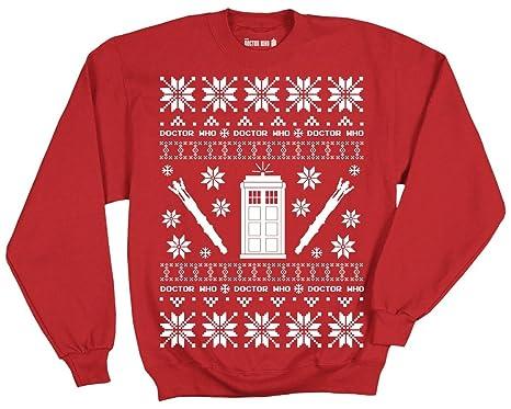 Amazon.com: Doctor Who Tardis Police Box Pattern Ugly Christmas ...