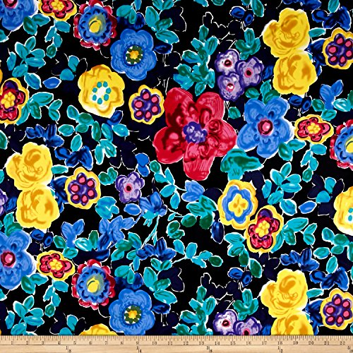 Telio Bloom Cotton Stretch Sateen Abstract Floral Multi Fabric By The Yard (Cotton Stretch Sateen Fabric)