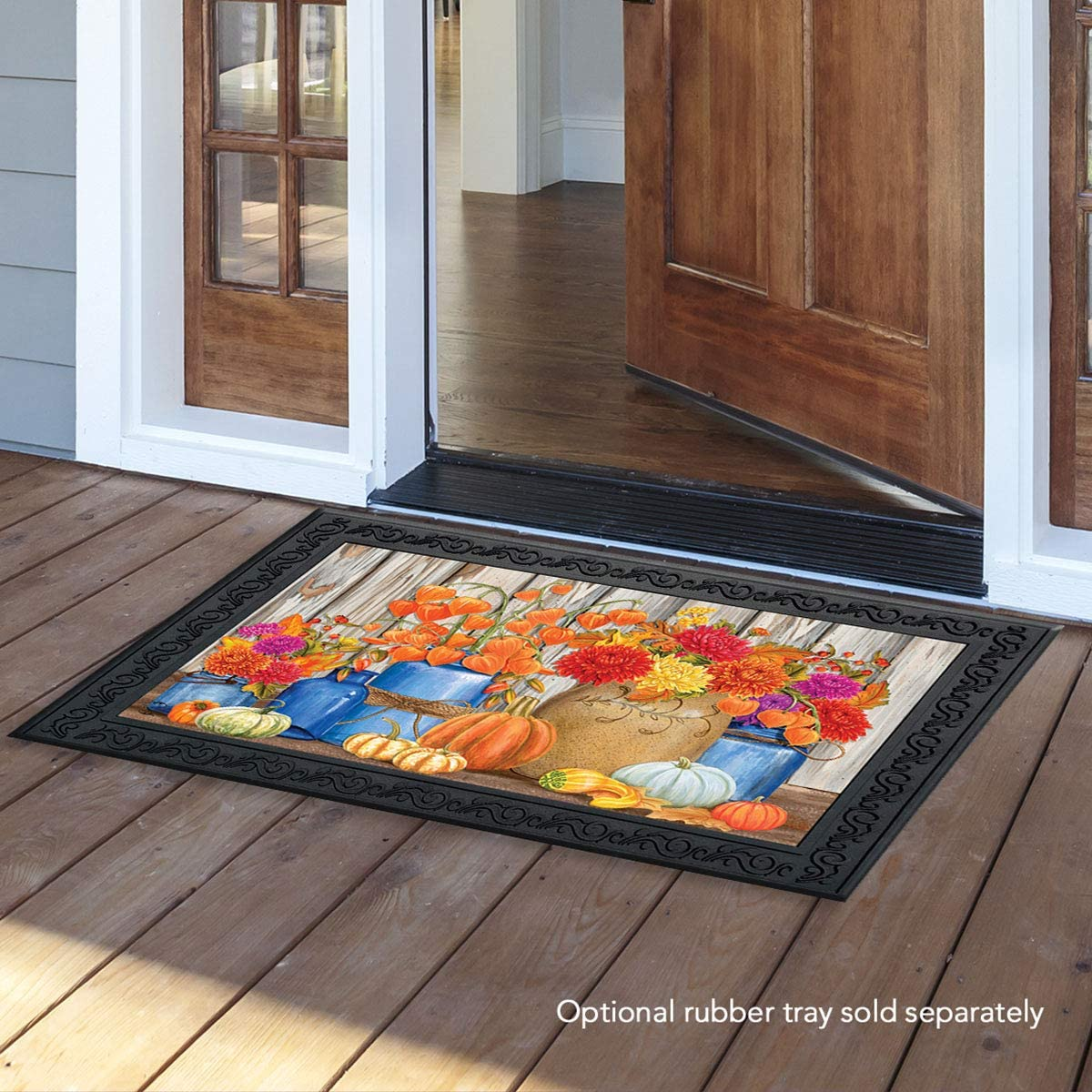 Briarwood Lane Fall Mason Jars Floral Doormat Primitive Autumn Indoor Outdoor 18 x 30