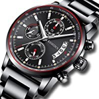 Watch Men Watches Stainless Steel Watches Chronograph Waterproof Sport Luxury Waterproof Date Quartz Wristwatch Black Color