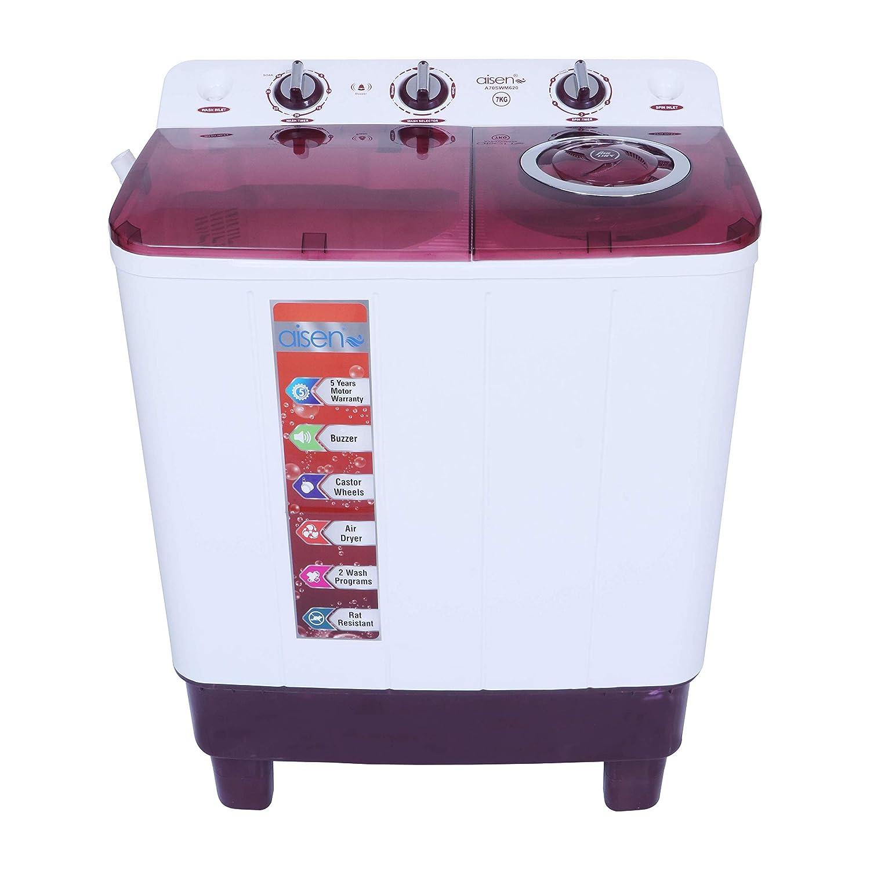 Aisen 7.0 kg Semi-Automatic Top Loading Washing Machine (A70SWM620, Maroon,...