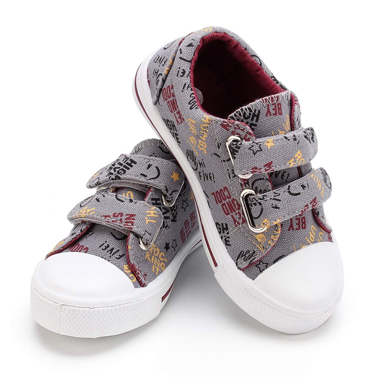 KomForme Toddler Kids Boy Girl Toddler Sneakers Cartoon Dual Hook and Loops Baby Sneakers Shoes