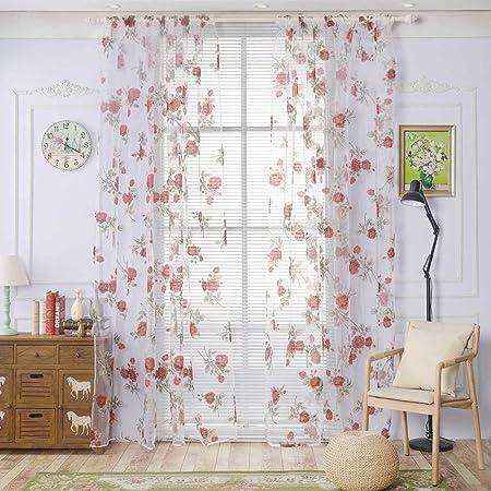 gardinen rose garn fenster tur vorhange panels fur wohnzimmer 1 2 m 2 panel