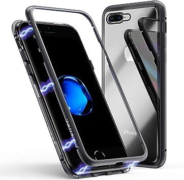 Funda para iPhone 8 Plus/7 Plus, ZHIKE Funda de Adsorción Magnética Súper Delgada Marco de Metal de Vidrio Templado con Cubierta Magnética Incorporada para Apple iPhone 7 Plus/8 Plus (Negro Claro): Amazon.es:
