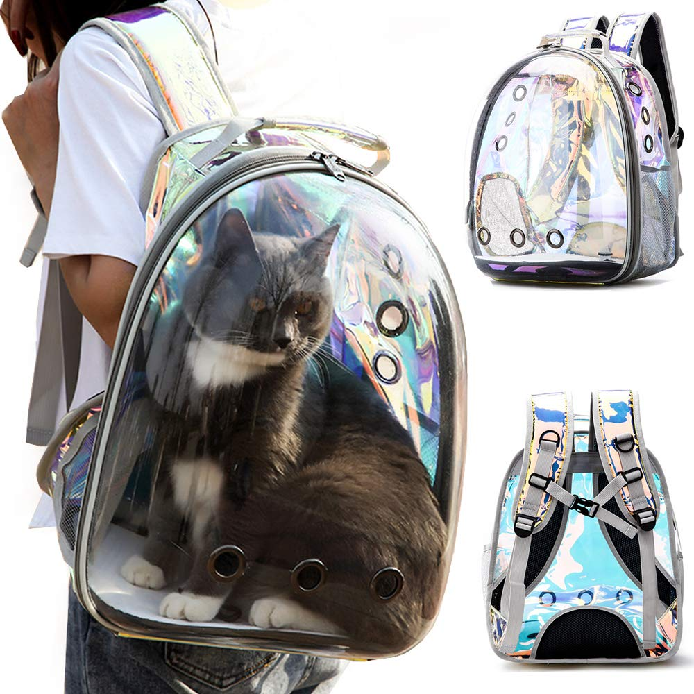 C&W Innovative Traveler Bubble Backpack Pet Carriers for Cats and Dogs Polarized Transparency Anti-Glare & UV Protection Waterproof Rainbow Color