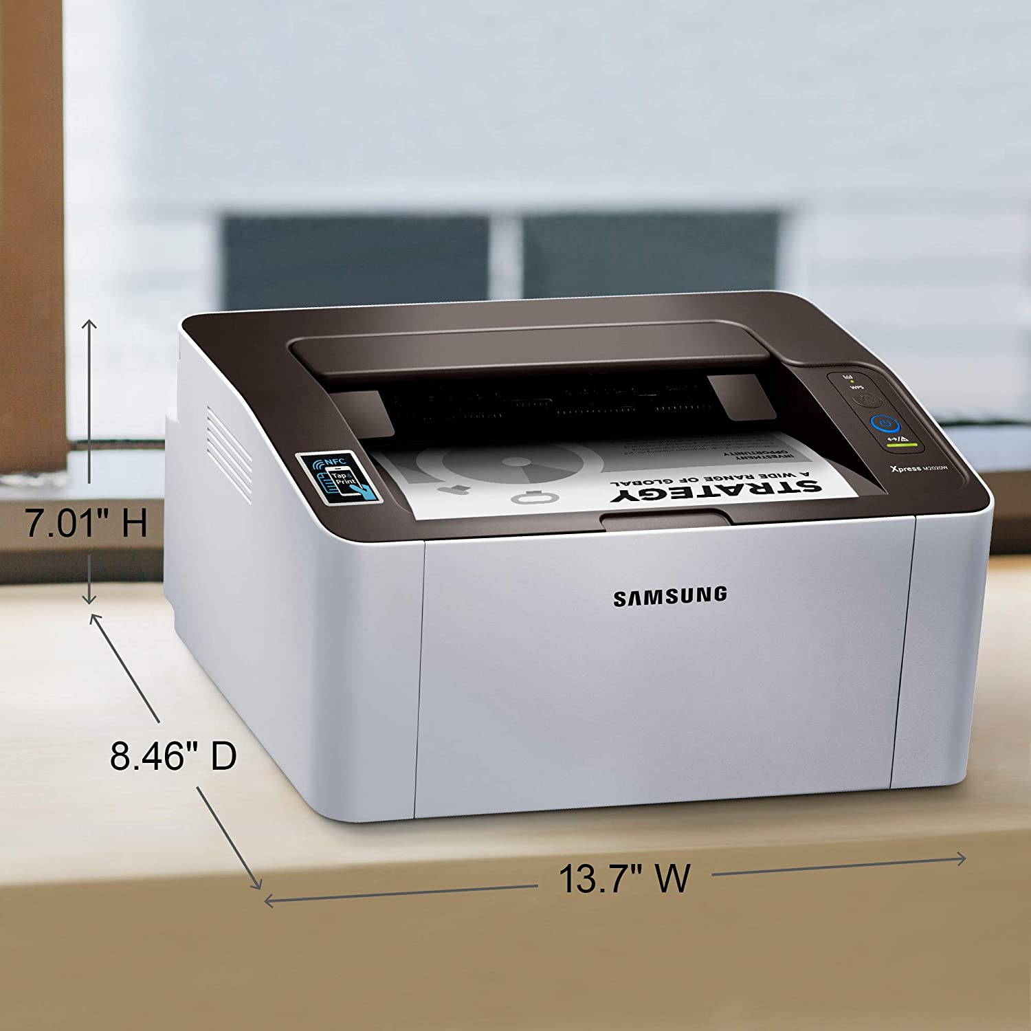 Samsung Xpress M2020W Wireless Monochrome Laser Printer with Simple NFC + WiFi Connectivity, Amazon Dash Replenishment Enabled (SS272H)