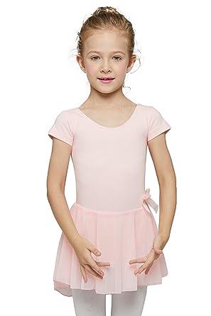 13bbcdaf9 Amazon.com  MdnMd Girls  Skirted Short Sleeve Leotard  Clothing