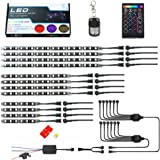 Muening 12Pcs Motorcycle RGB Led Light Kit Strips Multi-Color Accent Glow Neon Lights Lamp