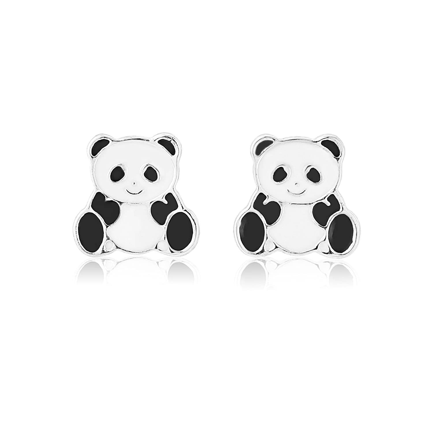 Panda earrings for girls with pierced ears includes t bag