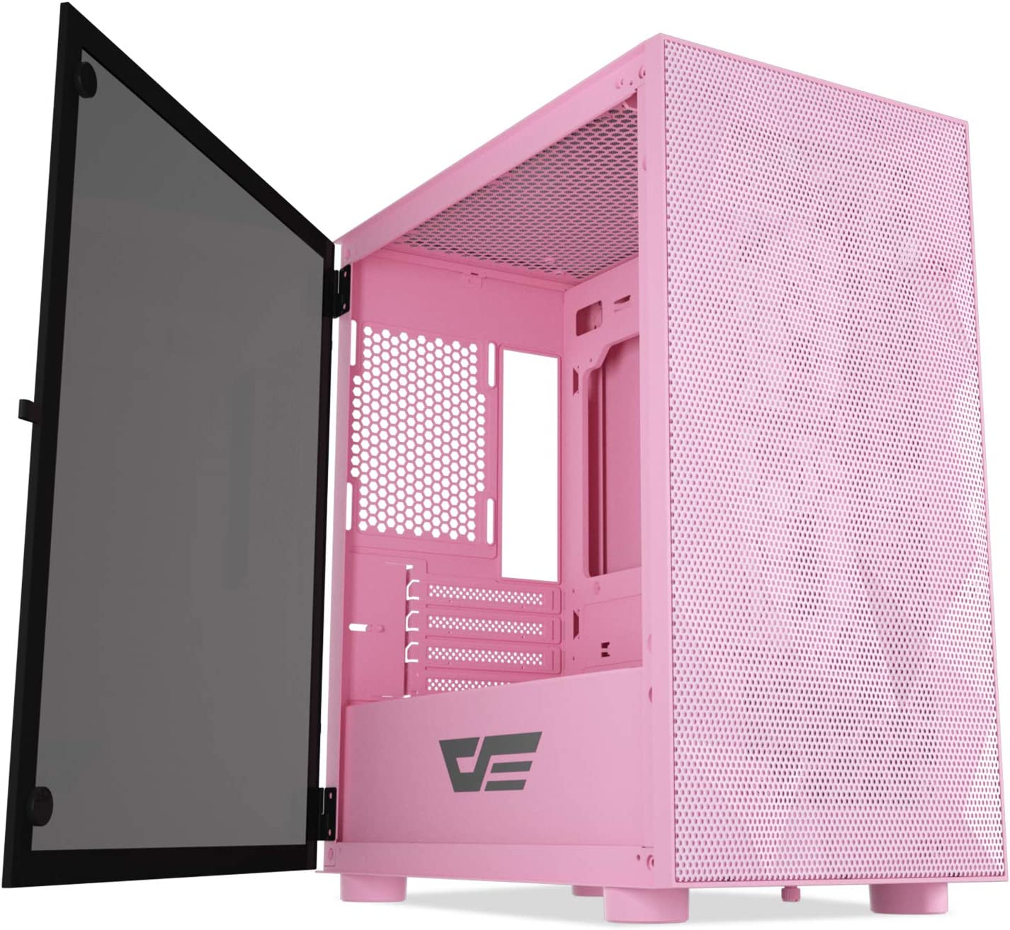 darkFlash DLM21 MESH Micro ATX Mini ITX Tower MicroATX Computer Case with Door Opening Tempered Glass Side Panel & Mesh Front Panel (DLM21 MESH Pink)