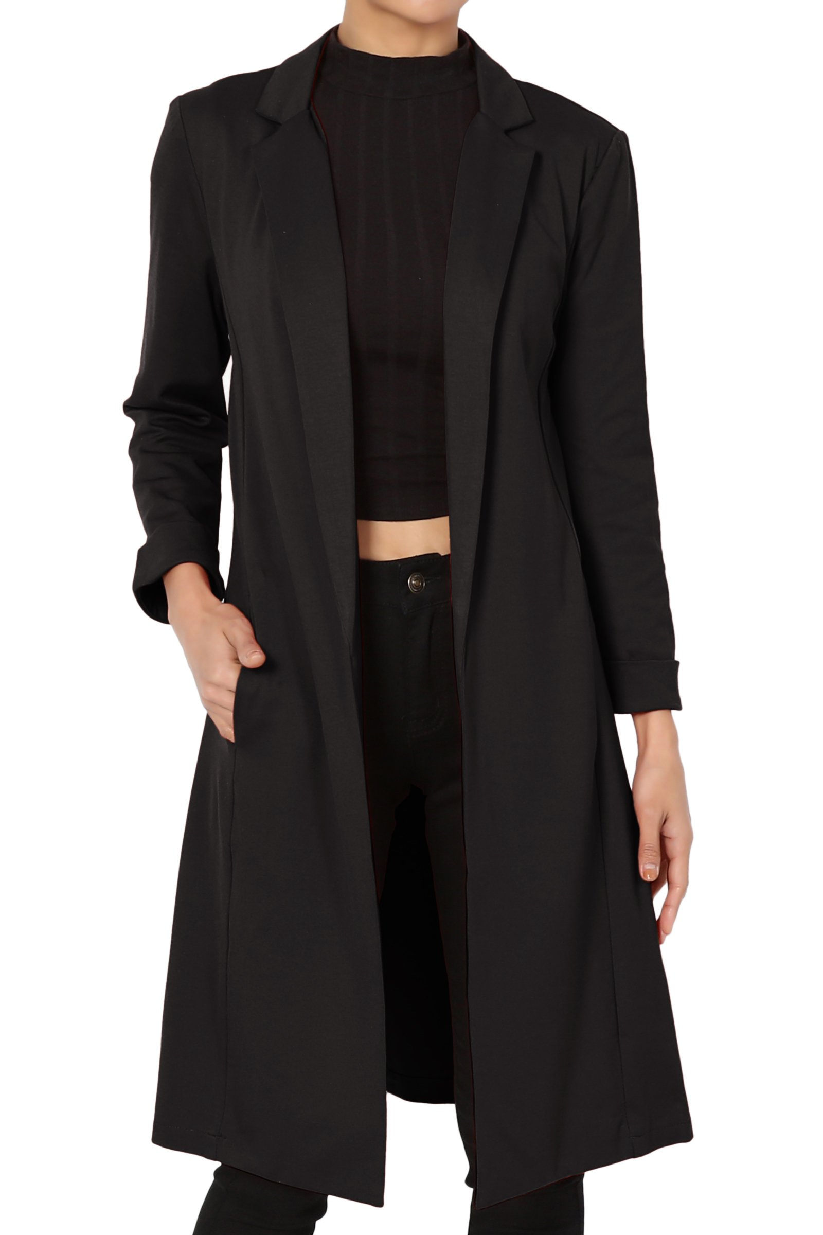 TheMogan Junior's Solid Longline Blazer Day To Night Open Duster Jacket Black M