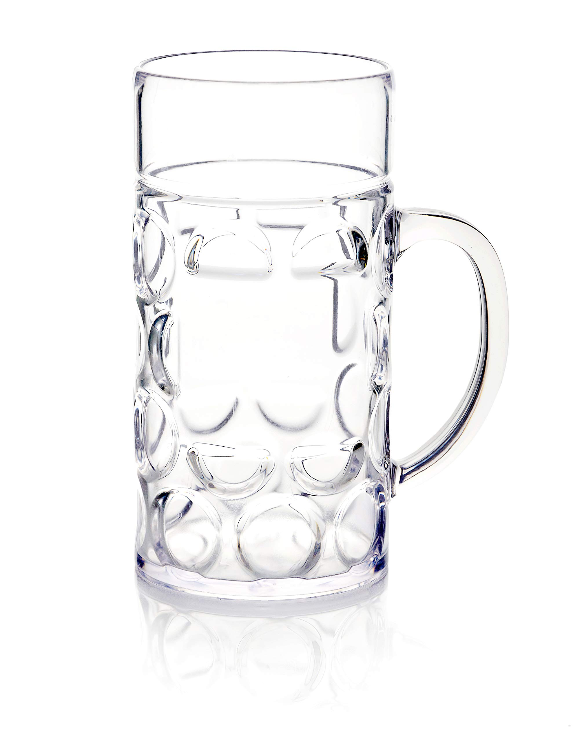32oz Plastic Beer Mug Bierstein (1 liter) with Handles, Reusable, Dishwasher Safe, Plastic for Indoor/Outdoor Use