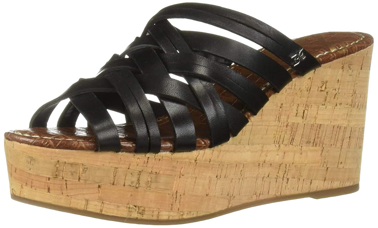 Black Leather Sam Edelman Womens Devon Wedge Sandal