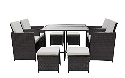 Enjoyable Sofamania Modern 8 Piece Space Saving Outdoor Furniture Dining Set Patio Rattan Table And Chairs Set Brown Beige Home Interior And Landscaping Ponolsignezvosmurscom