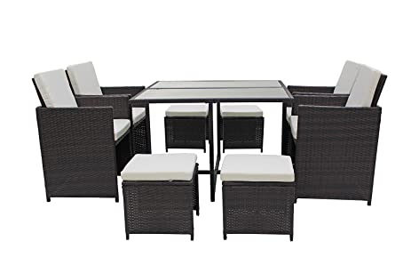 Modern 8 Piece Space Saving Outdoor Furniture Dining Set, Patio Rattan Table  And Chairs Set