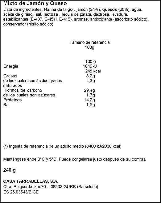 Mixto Jamón Y Queso - Casa Tarradellas 2x120 gr: Amazon.es ...