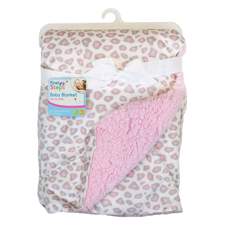Baby Blanket Girl boy Unisex Soft Fleece Woodland Animals White Grey 75x100cm